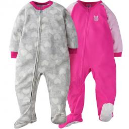 2-Pack Girls Leopard Print Toddler Blanket Sleepers – Gerber ... 0f35b142b