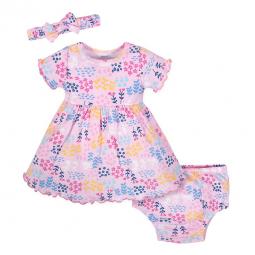 8ffdb477c 3-Piece Infant & Toddler Girls Bunny Garden Dress, Diaper Cover & Headband  Set